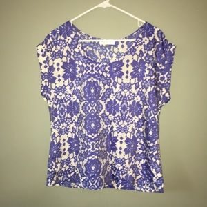 Blue and white lace printed blouse
